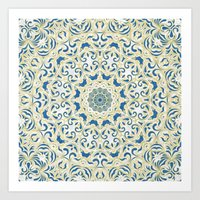 Floral Pattern Gold and China Blue Art Print