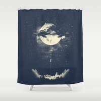 couple Shower Curtains featuring MOON CLIMBING by los tomatos