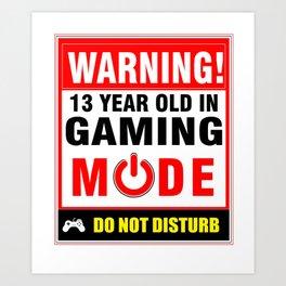 13th Birthday Gamer Boys Girls PC Gaming Art Print