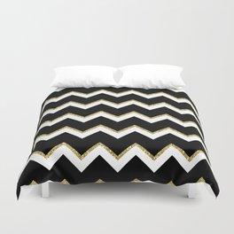 Black Gold White Chevron Pattern Duvet Cover