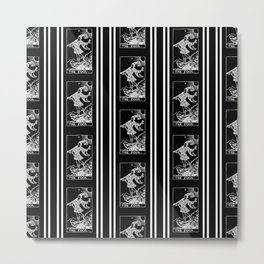 The Fool - A Black and White Striped Tarot Print Metal Print