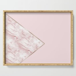 Blush pink geo - pink marble Serving Tray