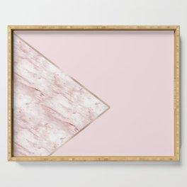 Blush pink geo - pink marble Serving Tray