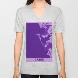 Cadiz - Spain Lavender City Map Unisex V-Neck