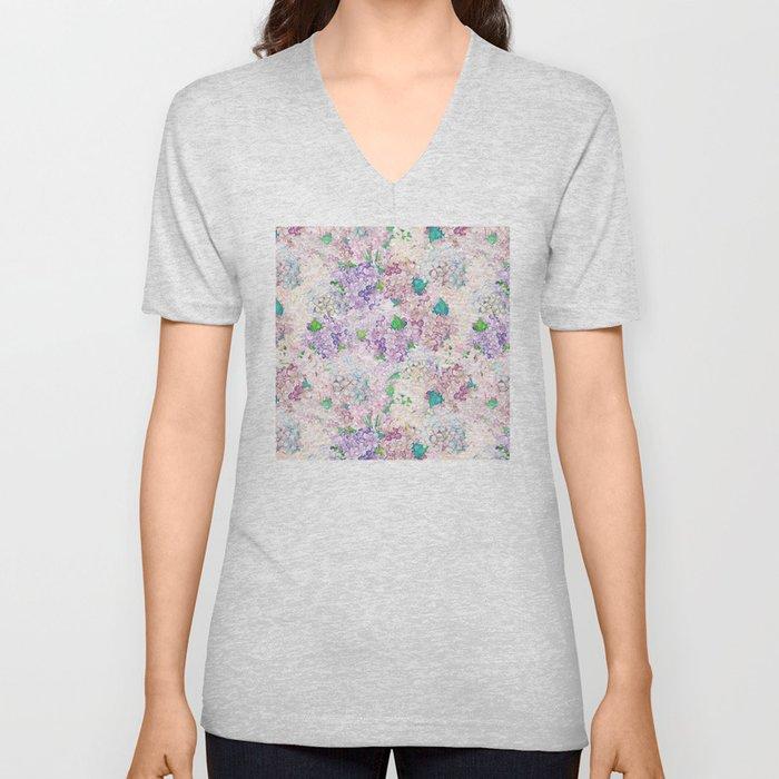 Pastel Purple and blue Lilac & Hydrangea - Flower Design Unisex V-Neck