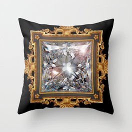 Royal Princess cut Diamond Throw Pillow