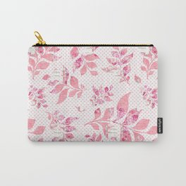 Blush pink white watercolor floral polka dots typography Carry-All Pouch