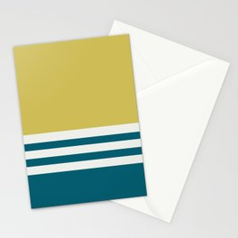 Off White, Dark Yellow and Tropical Dark Teal Inspired by Sherwin Williams 2020 Trending Color Oceanside SW6496 Straight Horizontal Triple Stripe Pattern Stationery Cards