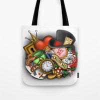 alice in wonderland Tote Bags featuring Wonderland  by Katie Simpson a.k.a. Redhead-K