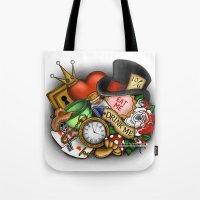 wonderland Tote Bags featuring Wonderland  by Katie Simpson a.k.a. Redhead-K