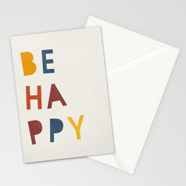Mid century be happy quote kids Stationery Cards