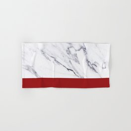 White Marble Red Hot Striped Hand & Bath Towel
