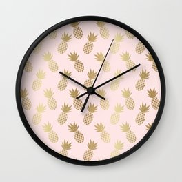 Pink & Gold Pineapples Pattern Wall Clock