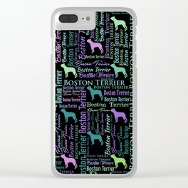 Boston Terrier Dog Word Art pattern Clear iPhone Case