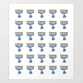 menorah 7,Hanukkah,jewish,jew,judaism,Festival of Lights,Dedication,jerusalem,lampstand,Temple, מְנו Art Print