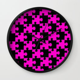 Checkerboard Puzzle Pieces     Pink & Black Wall Clock