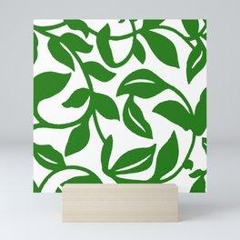 PALM LEAF VINE SWIRL IN GREEN AND WHITE Mini Art Print