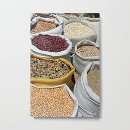 Corn and Beans at the Otavalo Market Metal Print