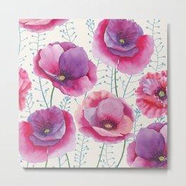 Poppy flowers watercolor painting Metal Print