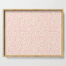 Abstract pastel pink ivory geometrical swirls pattern Serving Tray