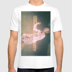 Escape Gravity And Into Space White Mens Fitted Tee MEDIUM