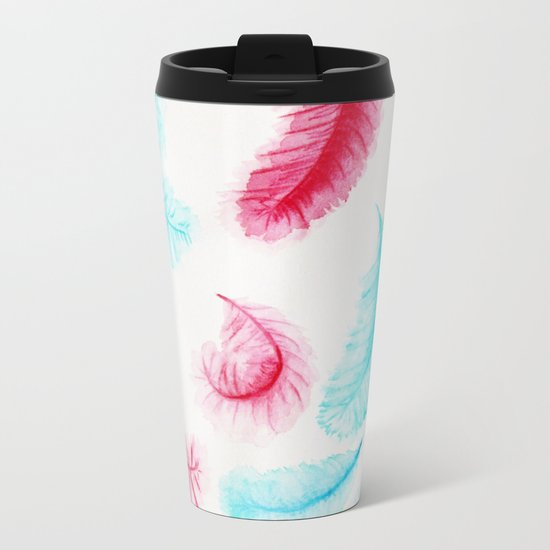 Floating Feathers Metal Travel Mug