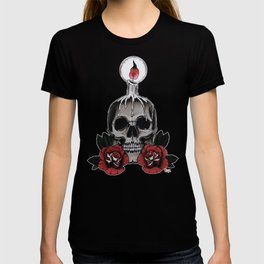 Voodoo Skull and Roses with candle T-shirt