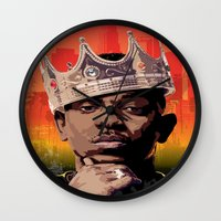 kendrick lamar Wall Clocks featuring King Kendrick by Tecnificent
