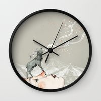 lady gaga Wall Clocks featuring Deer Lady! by Sandra Dieckmann