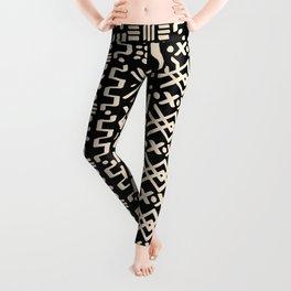 Mudcloth No. 2 in Black + White Leggings