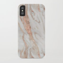 Rose Gold and White Marble 1 iPhone Case