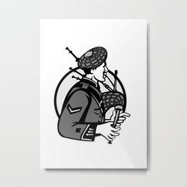 Bagpiper Bagpipes Scotsman Grayscale Retro Metal Print