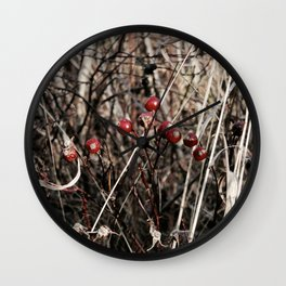 Thorned Berries of Winter Wall Clock