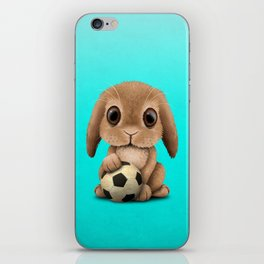 Cute Baby Bunny With Football Soccer Ball iPhone Skin
