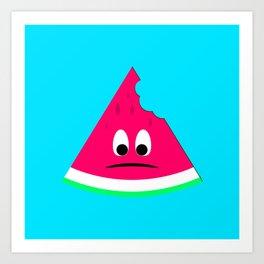 Cute sad bitten piece of watermelon Art Print