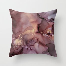 Ink Swirls Painting Lavender Plum Gold Flow Throw Pillow
