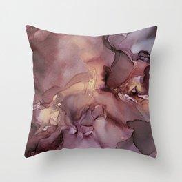 Ink Swirls Painting Lavender Plum Gold Flow Throw Pillow