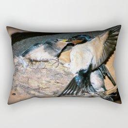 Swallow feeds chick. Rectangular Pillow