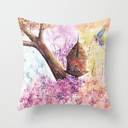 Birdhouse Art Illustration Throw Pillow