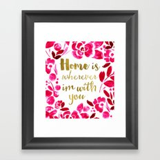 Home - pink Framed Art Print