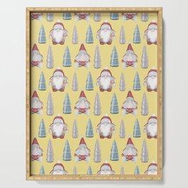 CHRISTMAS GNOMES - yellow Serving Tray
