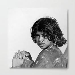 Girl in the Thar Desert (B&W) Metal Print