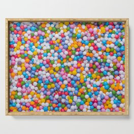 Rainbow Pastel Multicolored Sprinkle Dots Real Candy Pattern  Serving Tray