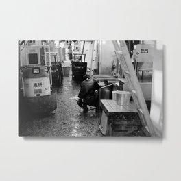Pressure Washing, Tsukiji Fish Market, Tokyo, Japan Metal Print
