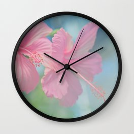 Tender macro shoot of pink hibiscus flowers Wall Clock
