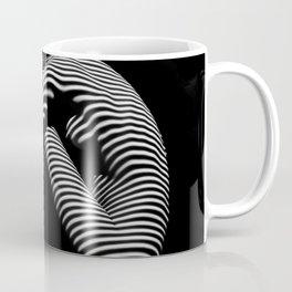 0035-DJA Zebra Sitting Nude Woman Yoga Black White Abstract Curves Expressive Lines Slim Fit Girl Coffee Mug