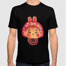 The Flower Crown Bunny Black Mens Fitted Tee MEDIUM