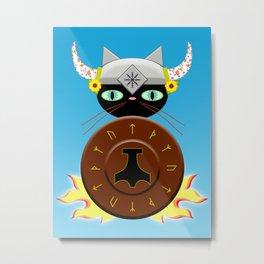 Feline Viking Metal Print