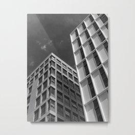 monochrome white concrete buildings Metal Print