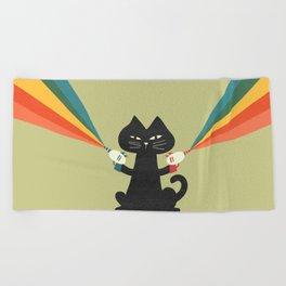 Ray gun cat Beach Towel